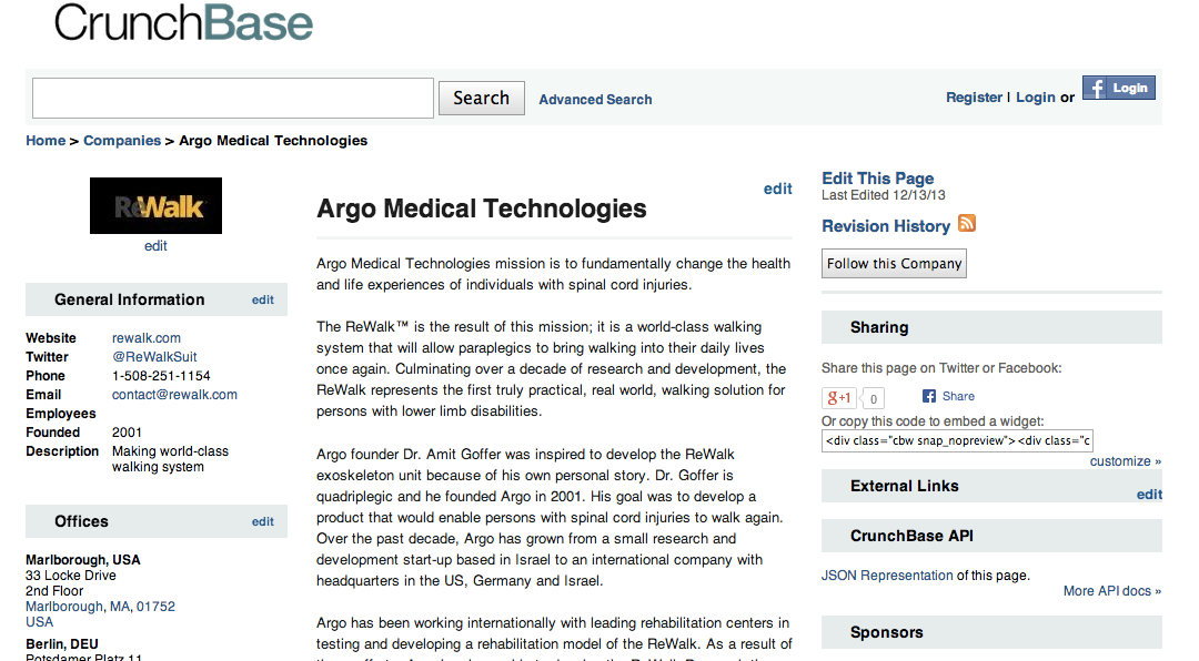 argo makes the rewalk device