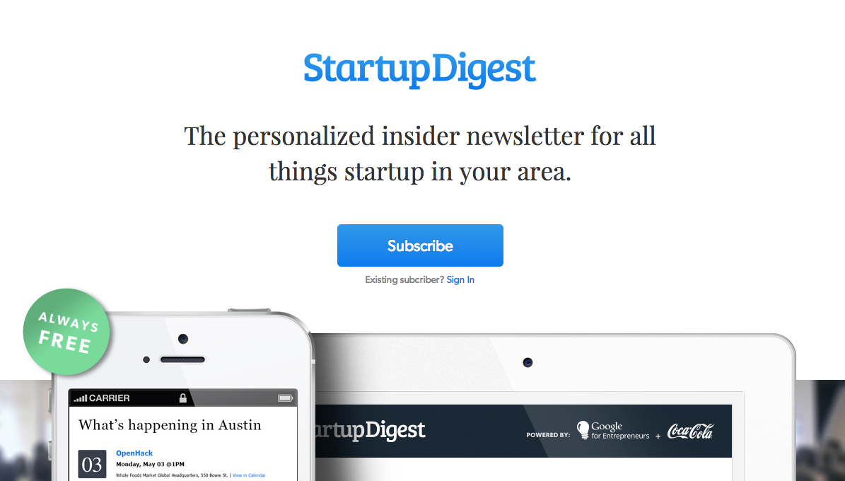 StartupDigest personalized newsletter for all things startup