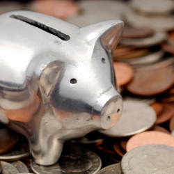 Photo of a Piggy Bank and Coins